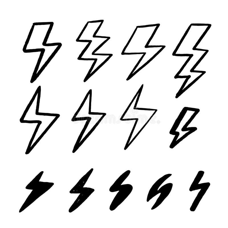 Grupo moderno do ícone do raio Sinal claro instantâneo tirado mão do estilo Projeto do grunge do vetor Velocidade r?pida do poder ilustração royalty free