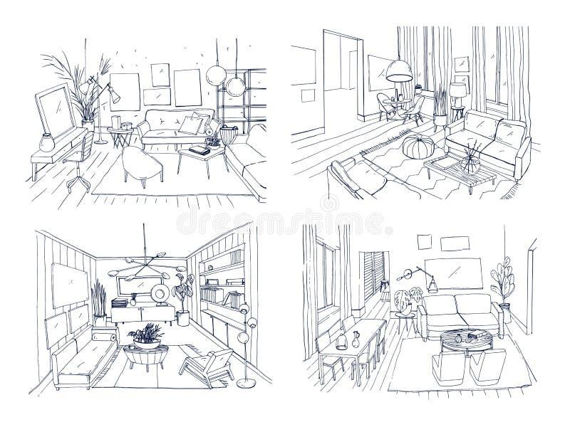 Grupo moderno do interior da sala de visitas Coleção fornecida da sala de estar Esboço da ilustração do vetor do contorno na luz ilustração royalty free