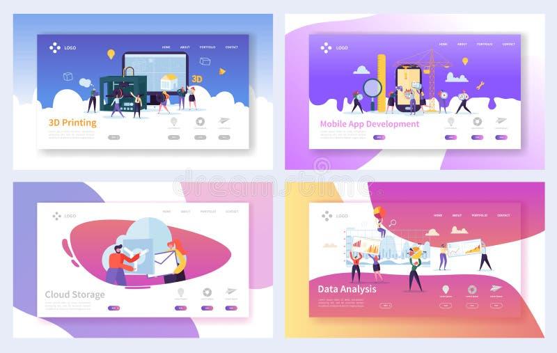 Grupo moderno do molde da página da aterrissagem da tecnologia Executivos do desenvolvimento móvel do App dos caráteres, armazena ilustração stock