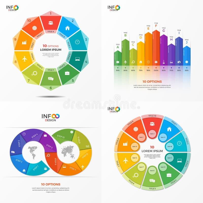 Grupo moldes infographic das opções do vetor de 10 ilustração stock
