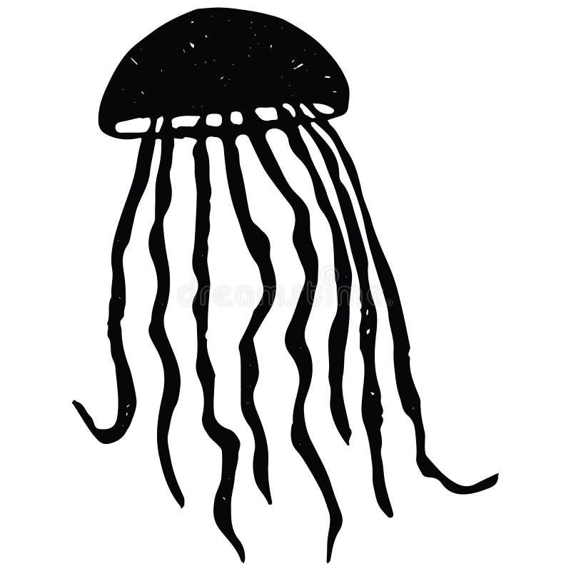 Grupo monocromático bonito do motivo da ilustração do vetor dos desenhos animados do lineart das medusas Clipart isolado tirado m ilustração stock