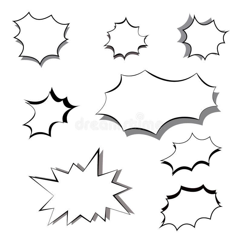 Grupo monocromático de explosões e de flashes Moldes vazios do quadro para o texto no estilo da banda desenhada dos desenhos anim ilustração stock