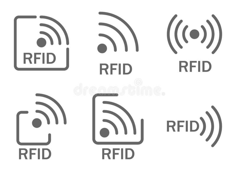 Grupo monocromático de rfid dos ícones ajuste dos ícones que caracterizam as ondas de rádio e de rádio imagem de stock