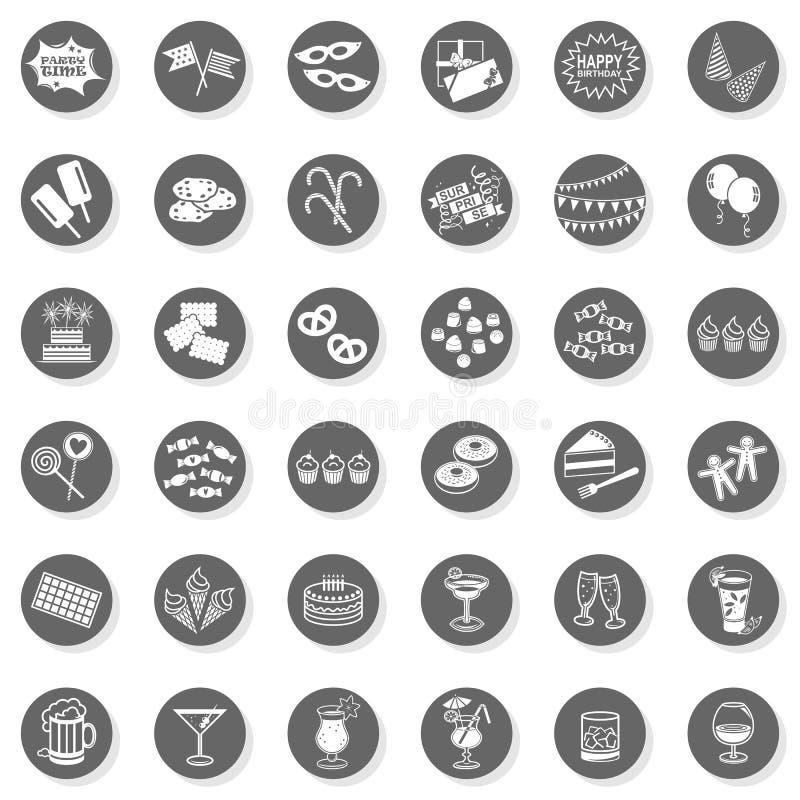 grupo monocromático do botão do divertimento do tempo de 36 partidos ilustração do vetor