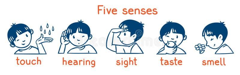 Grupo monocrom?tico do ?cone de cinco sentidos Ilustração dos meninos ilustração stock