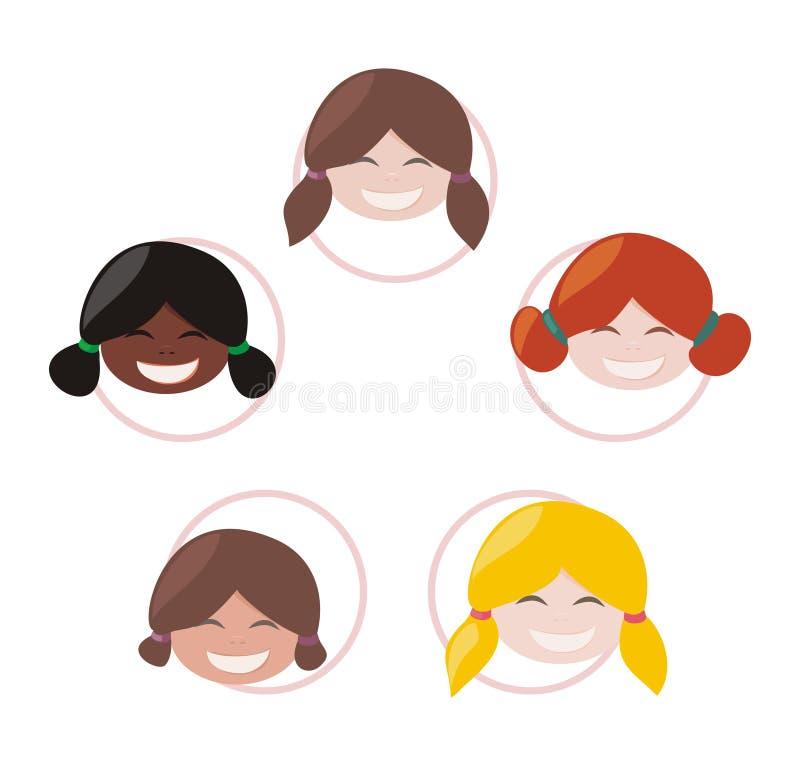 Grupo mulicultural feliz das meninas ilustração do vetor