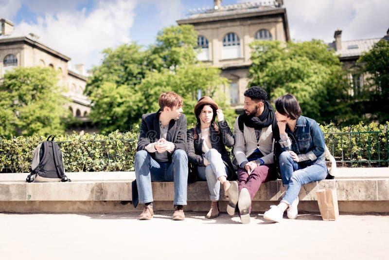 grupo Multi-étnico de amigos que têm o divertimento em Paris, Notre Dame imagens de stock