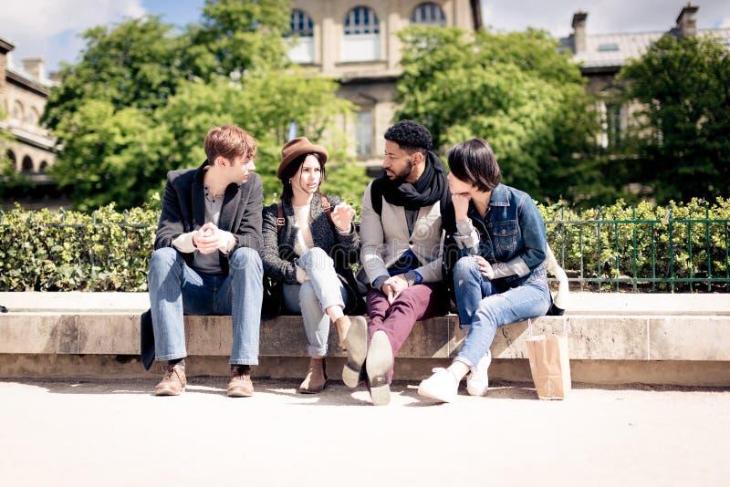 grupo Multi-étnico de amigos que têm o divertimento em Paris, Notre Dame imagem de stock royalty free
