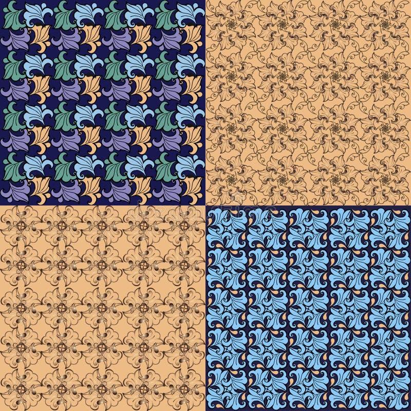 Grupo multicolorido de testes padrões sem emenda barrocos Contexto decorativo do ornamento para a tela, matéria têxtil, papel de  ilustração stock