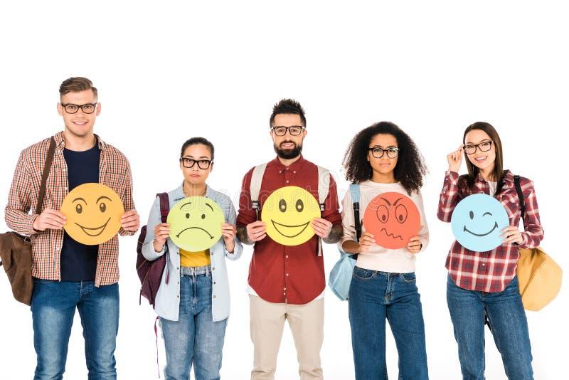 grupo multicultural de gente joven que muestra emociones en las tarjetas aisladas fotos de archivo libres de regalías