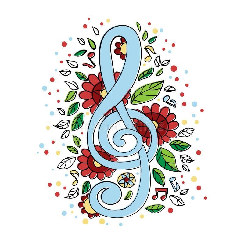 Grupo musical da ilustração do vetor do símbolo do concerto da CLAVE DE SOL ilustração stock