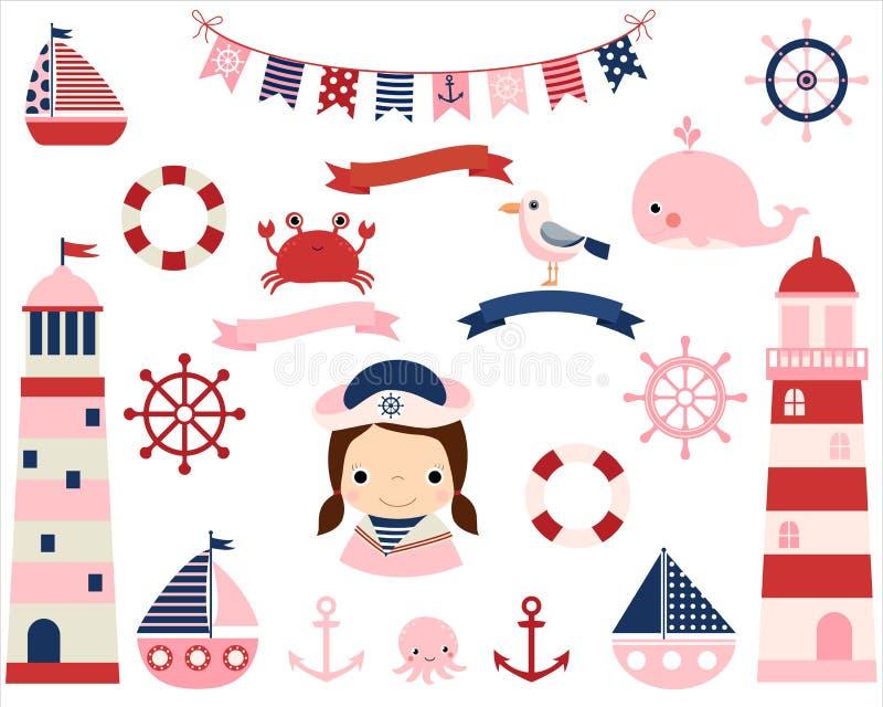 Grupo náutico da menina cor-de-rosa com faróis ilustração do vetor