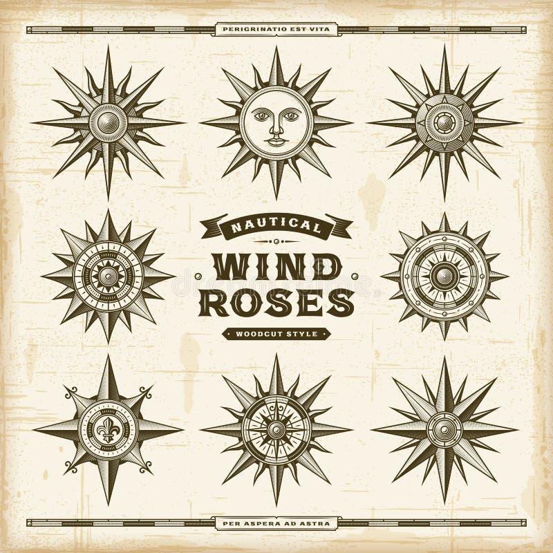 Grupo náutico das rosas de vento do vintage ilustração do vetor