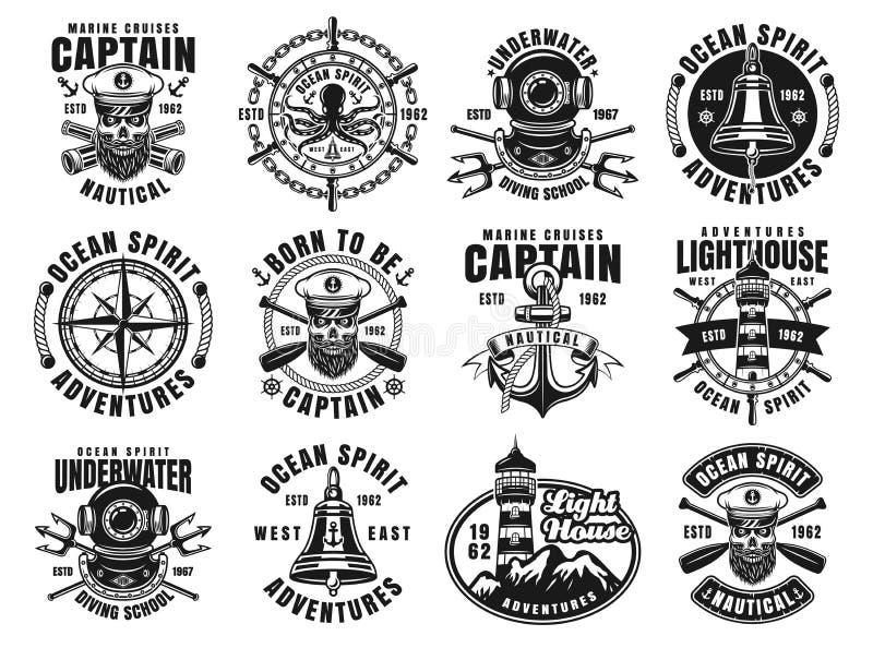 Grupo náutico de doze emblemas do vintage do vetor ilustração do vetor