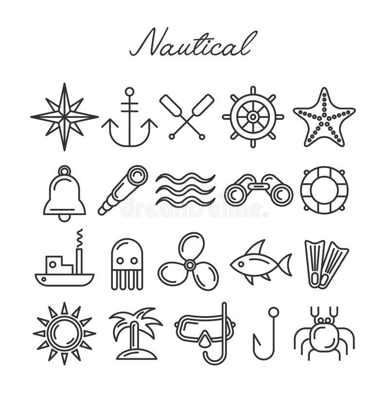 Grupo náutico do ícone ilustração royalty free