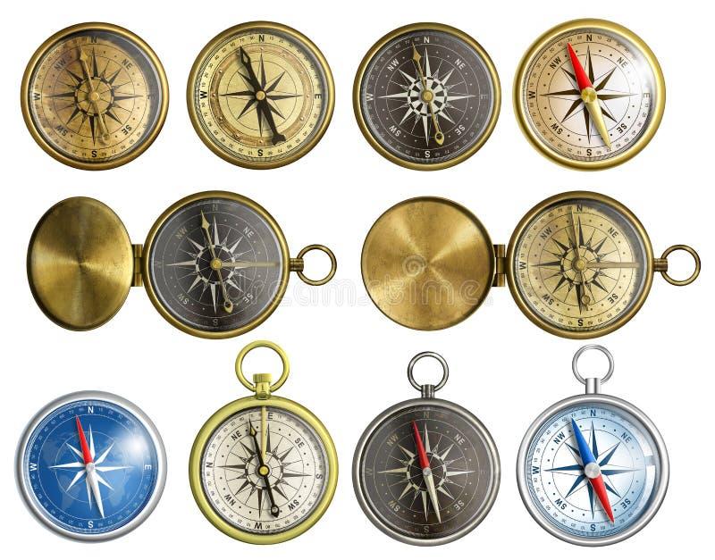Grupo náutico do compasso isolado fotos de stock