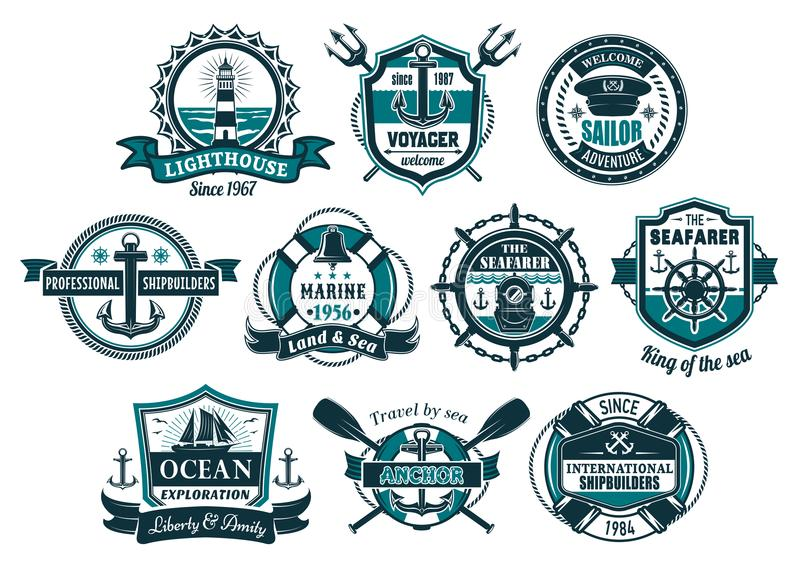 Grupo náutico do crachá do leme da âncora e do barco de mar ilustração royalty free