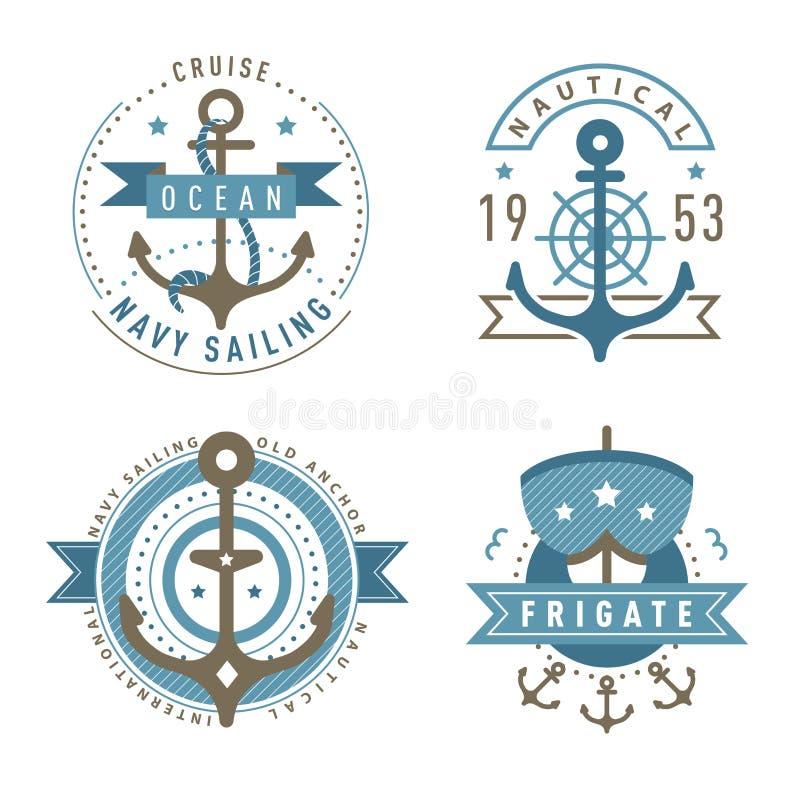 Grupo náutico do molde do logotipo ilustração royalty free