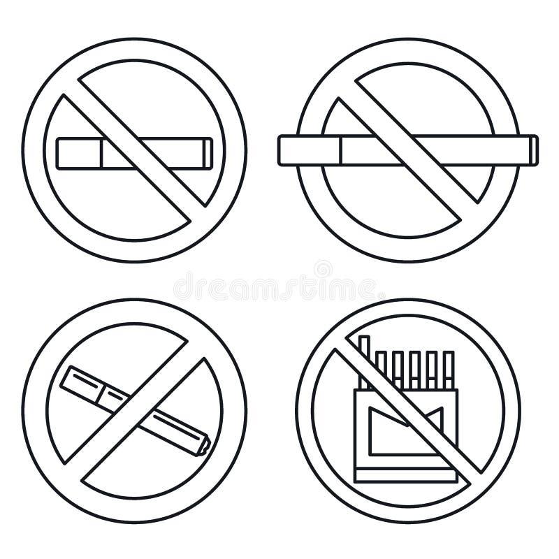 Grupo não fumadores público do ícone, estilo do esboço ilustração do vetor