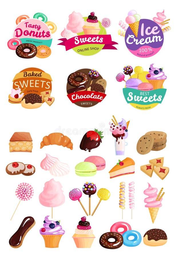 Grupo na moda do ícone das etiquetas dos doces ilustração do vetor