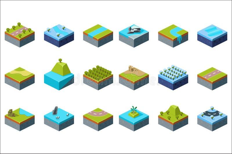 Grupo natural da paisagem do verão e do inverno, elementos do projeto para ilustrações do vetor da relação do jogo de comput ilustração royalty free