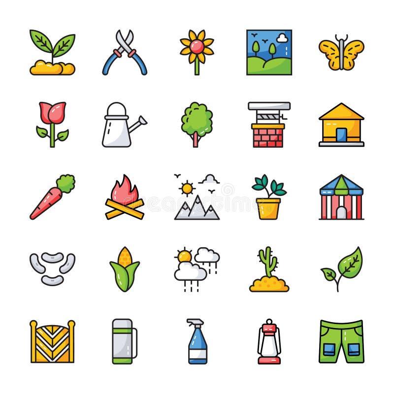 Grupo natural do ícone dos elementos ilustração do vetor