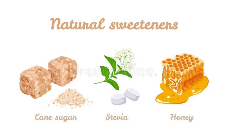 Grupo natural dos edulcorantes Ilustração do estoque do vetor do mel, das plantas do stevia e dos comprimidos Cubos do açúcar de  ilustração royalty free