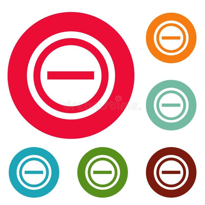 Grupo negativo do círculo dos ícones ilustração royalty free