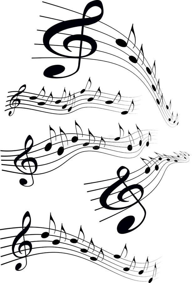 Grupo notas da música do estilo cômico de várias na pauta musical, illustra do vetor ilustração stock