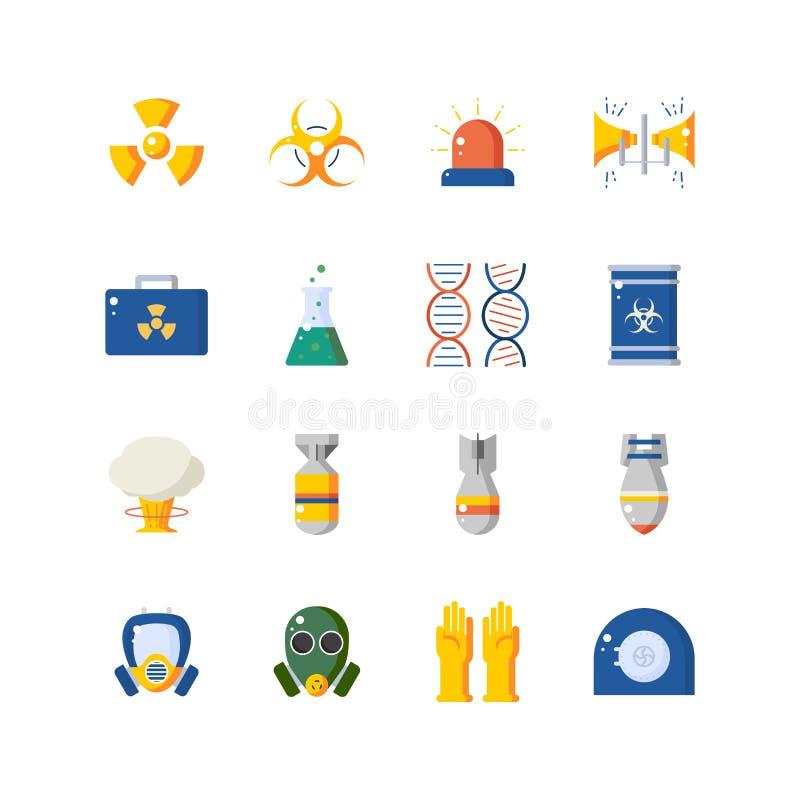 Grupo nuclear do ícone do perigo e da segurança ilustração do vetor