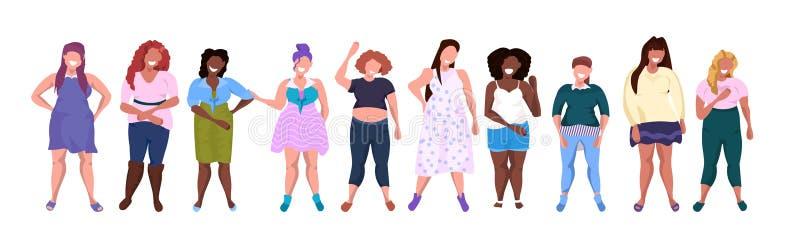 Grupo obeso gordo de las mujeres que se une la historieta femenina sonriente de las muchachas de la raza de la mezcla del concept stock de ilustración