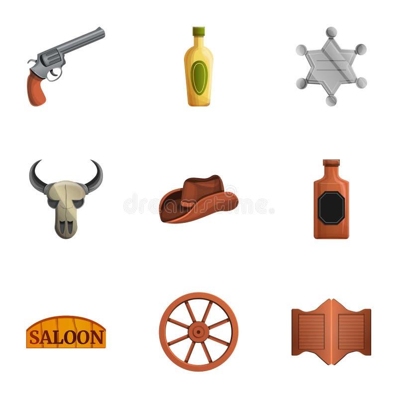 Grupo ocidental do ícone do bar, estilo dos desenhos animados ilustração stock