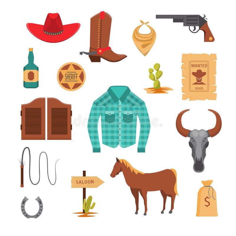 Grupo ocidental selvagem do ícone dos sinais dos desenhos animados Vetor ilustração do vetor