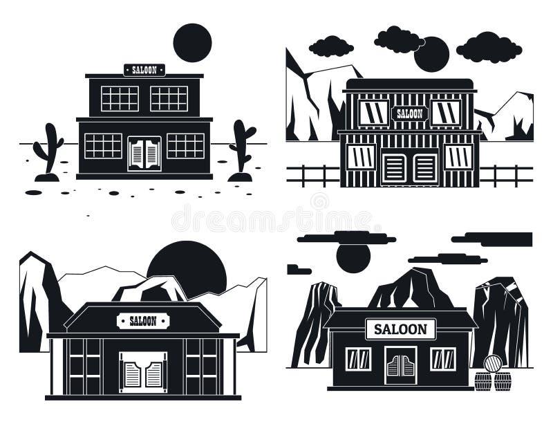 Grupo ocidental selvagem do conceito da bandeira do bar, estilo simples ilustração royalty free