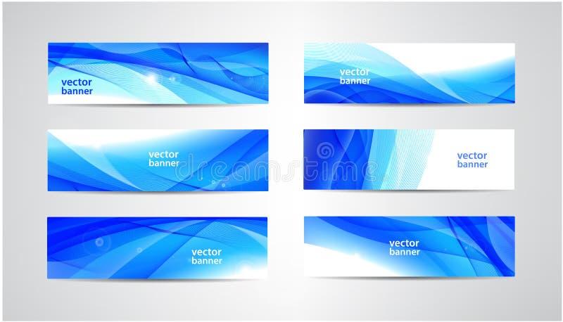 Grupo ondulado das bandeiras do fluxo do sumário do vetor Água, córrego, fundos horizontais do córrego da energia Líquido da onda ilustração royalty free