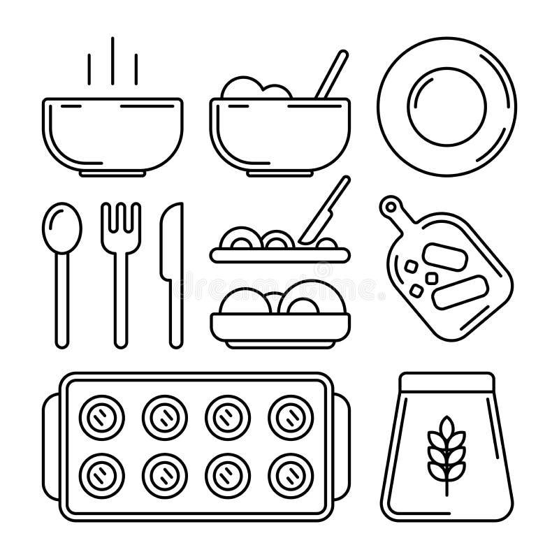 Grupo ooking do ícone do ¡ de Ð Vetor Placa com prato quente, placa vazia, cutelaria, forquilha, placa, faca, farinha, cozimento, ilustração royalty free