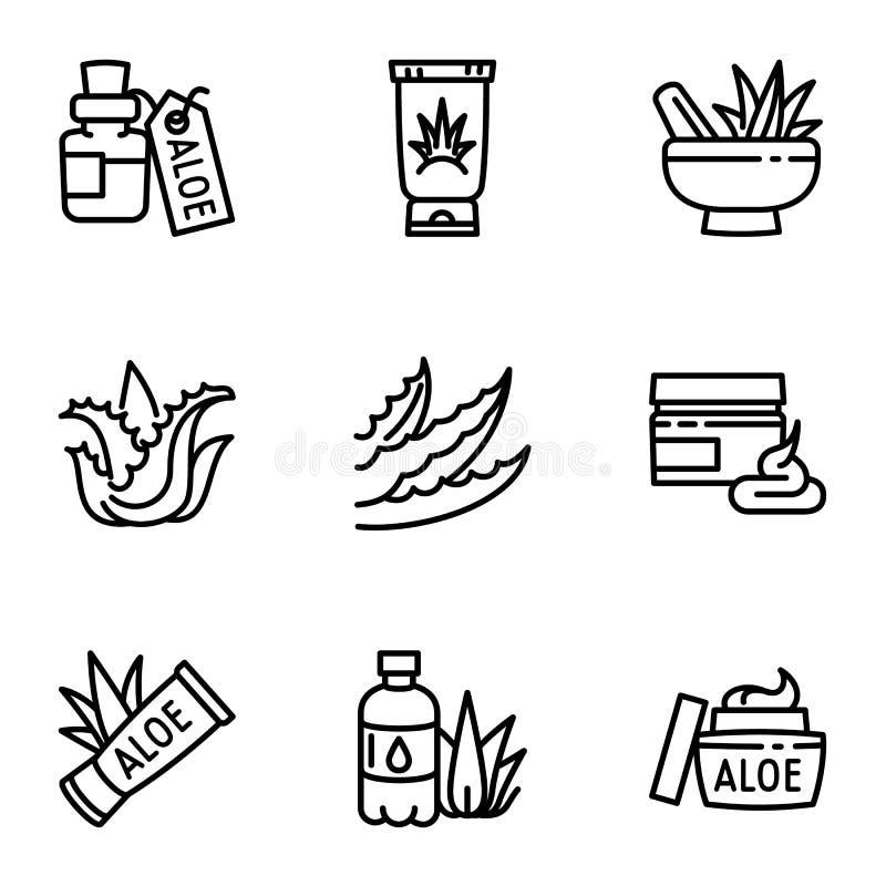 Grupo orgânico do ícone de vera do aloés, estilo do esboço ilustração do vetor