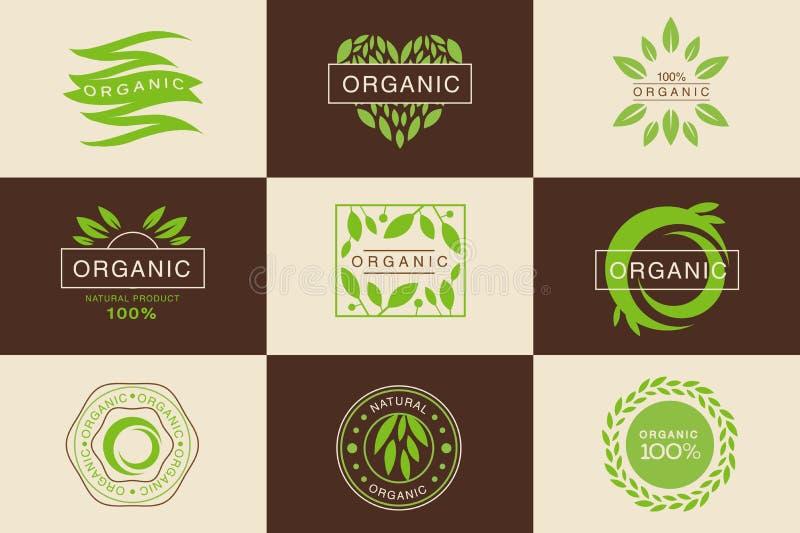 Grupo orgânico do molde do logotipo do produto de 100 por cento, crachás coleção naturais, do vegetariano, emblemas dos eleme ilustração royalty free