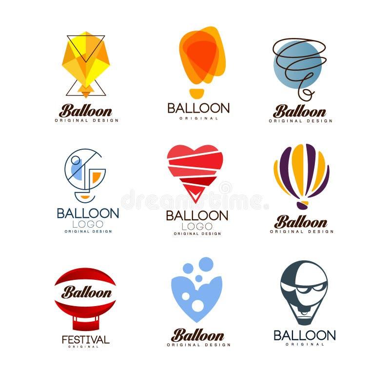 Grupo original do projeto do balão, logotipo criativo para a identidade de marca incorporada, férias de verão, festival, curso, t ilustração do vetor