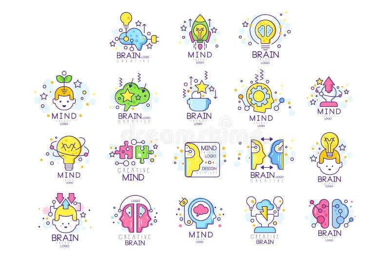 Grupo original do projeto do logotipo da energia da mente, criação e ilustrações coloridas do vetor dos elementos da ideia ilustração royalty free