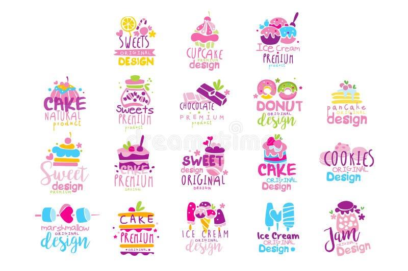 Grupo original do projeto do logotipo dos doces, crach?s do menu das crian?as, ilustra??es tiradas do vetor do alimento biol?gico ilustração do vetor
