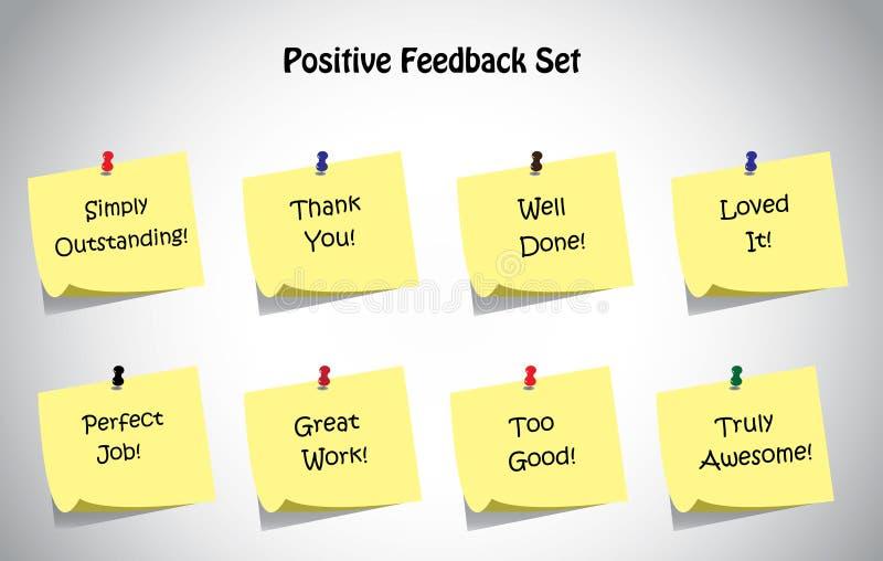 Grupo original simples da coleção das notas de post-it do texto da reação positiva ilustração royalty free