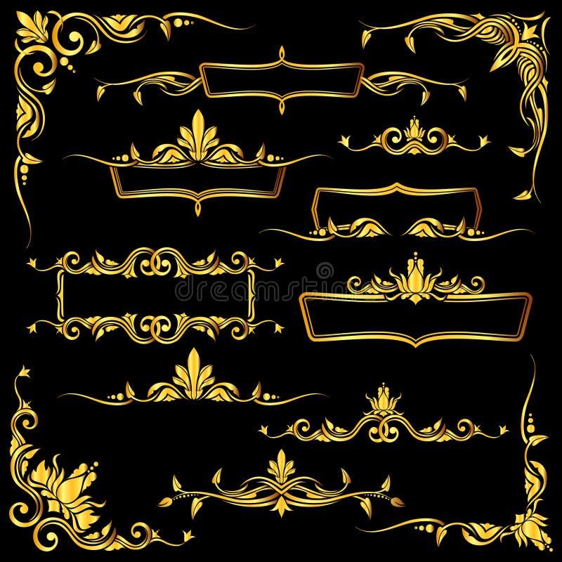 Grupo ornamentado dourado dos quadros, das beiras e de elementos de canto do vetor ilustração do vetor