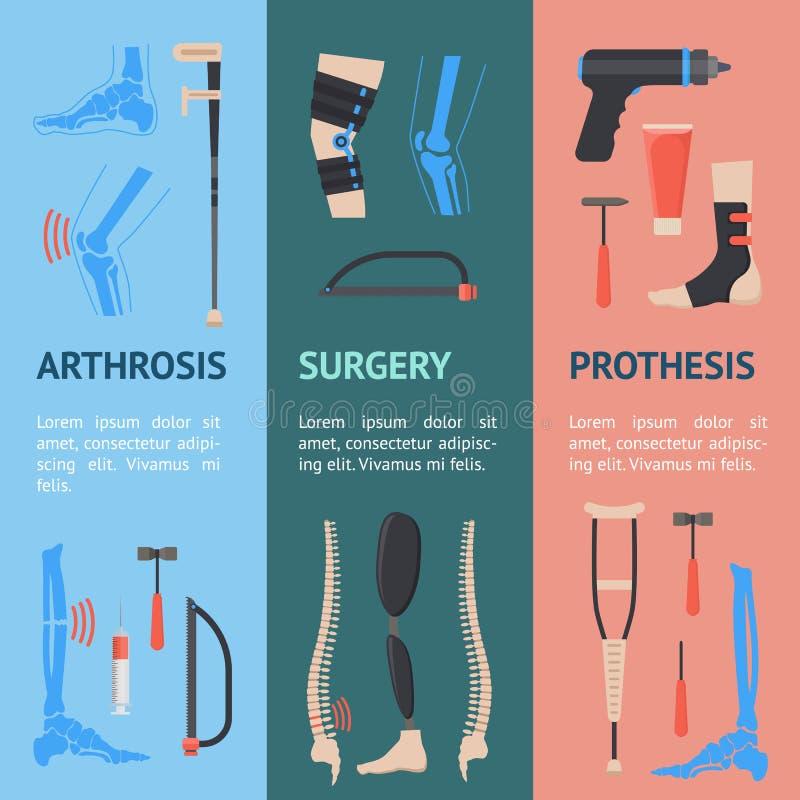 Grupo ortopédico de Vecrtical da bandeira dos desenhos animados Vetor ilustração royalty free