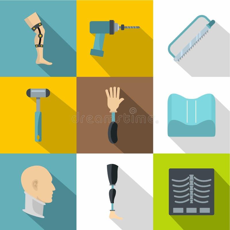 Grupo ortopédico do ícone da cirurgia, estilo liso ilustração do vetor