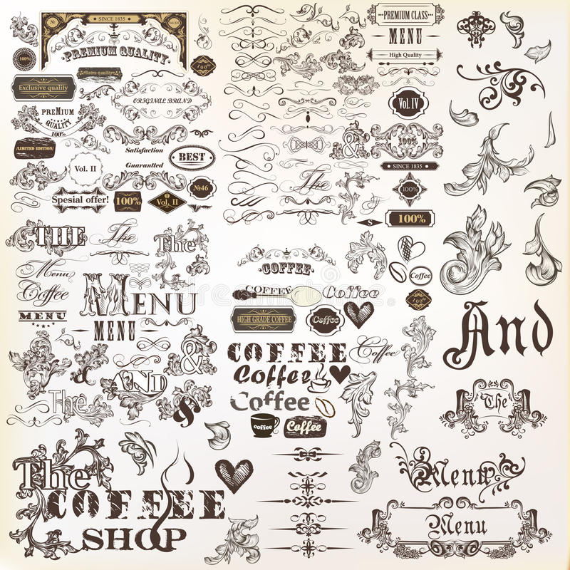 Grupo ou coleção de elementos do vetor e da decoração caligráficos da página ilustração do vetor