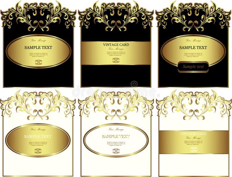 Grupo ouro-moldado floral do vetor das etiquetas ilustração stock