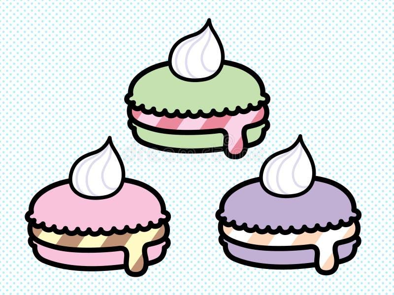 Grupo pastel bonito do vetor de Macarons ilustração stock