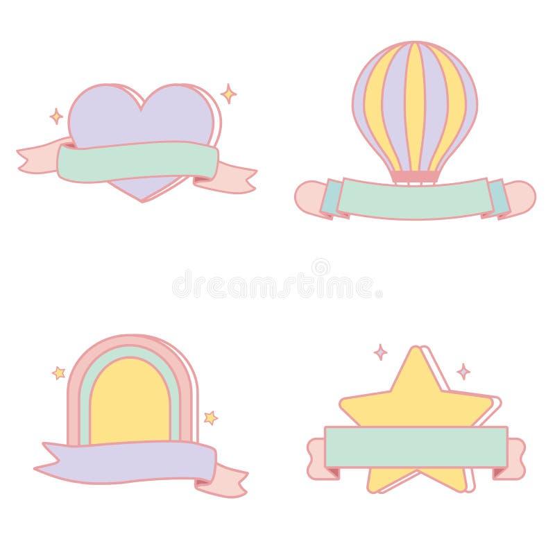 Grupo pastel bonito do vetor dos emblemas ilustração stock