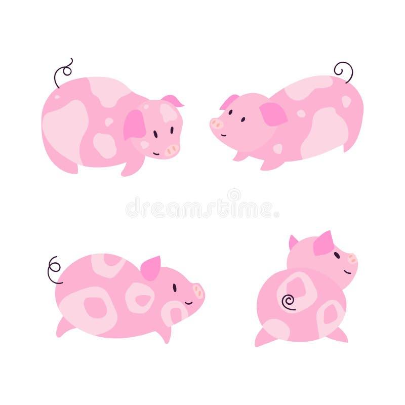 Grupo pequeno bonito da ilustração dos caráteres do porco ilustração royalty free